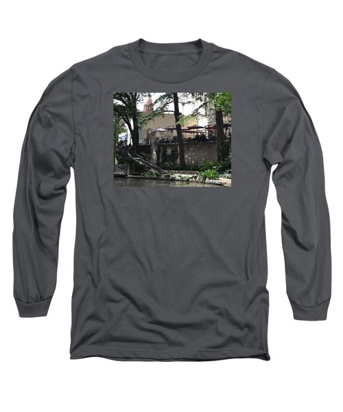 Long Sleeve T-Shirt featuring the digital art Lunch Above The River Walk by Kirt Tisdale