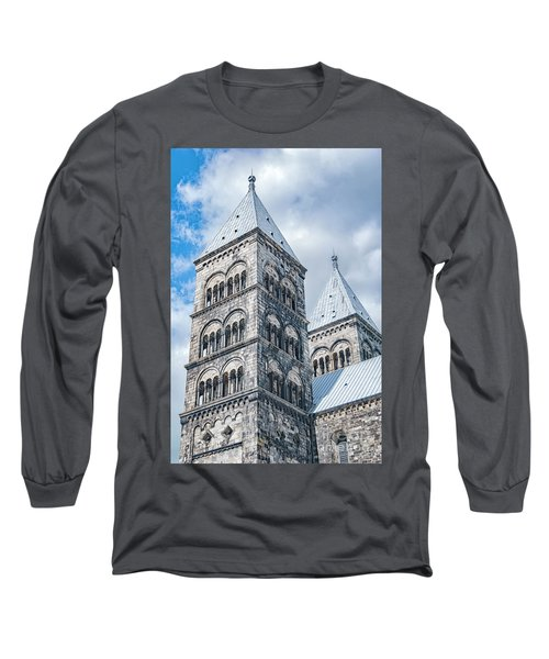 Long Sleeve T-Shirt featuring the photograph Lund Cathedral In Sweden by Antony McAulay