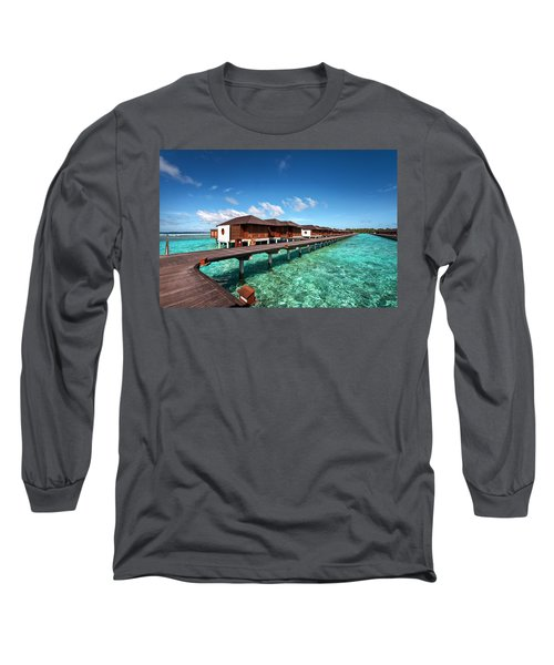 Long Sleeve T-Shirt featuring the photograph Luxury Water Villas Of Maldivian Resort by Jenny Rainbow