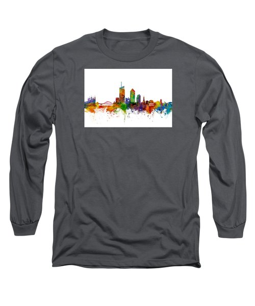 Lyon Skyline Cityscape France Long Sleeve T-Shirt by Michael Tompsett