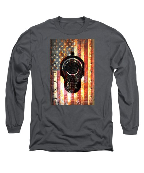 M1911 Colt 45 On Rusted American Flag Long Sleeve T-Shirt by M L C