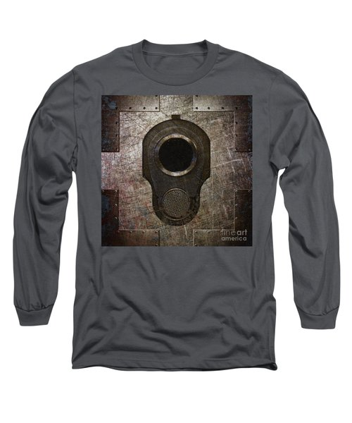 M1911 Muzzle On Rusted Riveted Metal Dark Long Sleeve T-Shirt