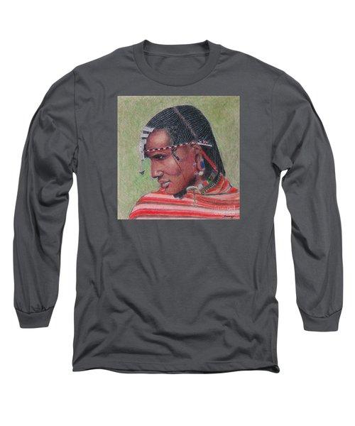 Maasai Warrior II -- Portrait Of African Tribal Man Long Sleeve T-Shirt