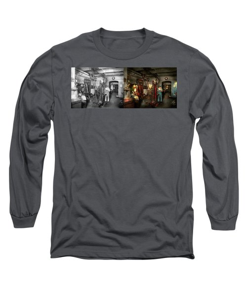 Long Sleeve T-Shirt featuring the photograph Machinist - Government Approved 1919 - Side By Side by Mike Savad