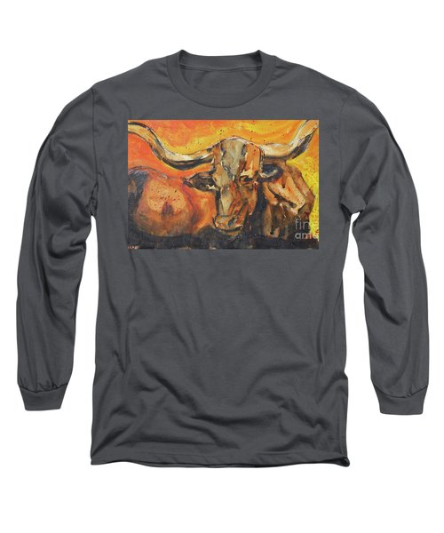 Long Sleeve T-Shirt featuring the painting Macho Longhorn by Ron Stephens