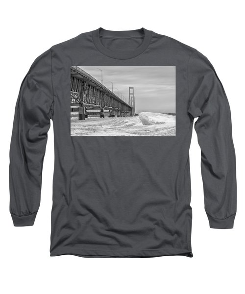 Long Sleeve T-Shirt featuring the photograph Mackinac Bridge Icy Black And White  by John McGraw