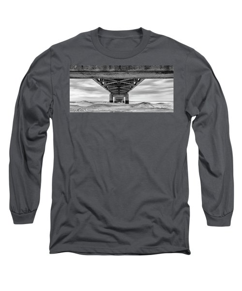 Long Sleeve T-Shirt featuring the photograph Mackinac Bridge In Winter Underneath  by John McGraw