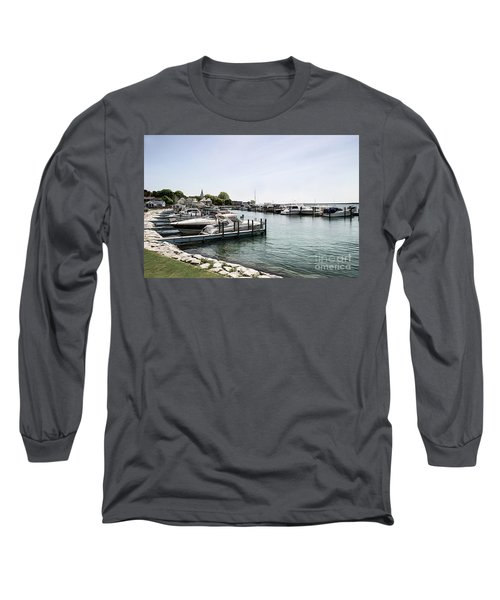 Mackinac Marina Art Long Sleeve T-Shirt