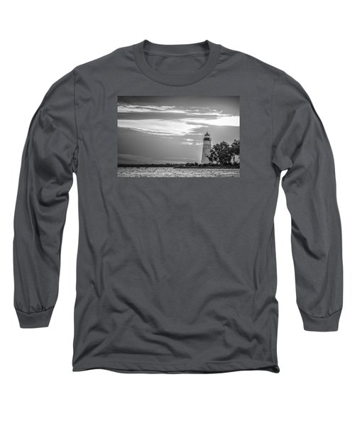 Long Sleeve T-Shirt featuring the photograph Madisonville Lighthouse In Black-and-white by Andy Crawford