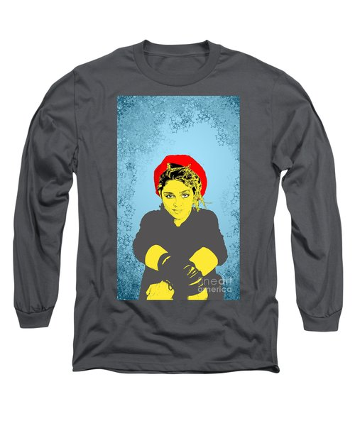 Madonna On Blue Long Sleeve T-Shirt