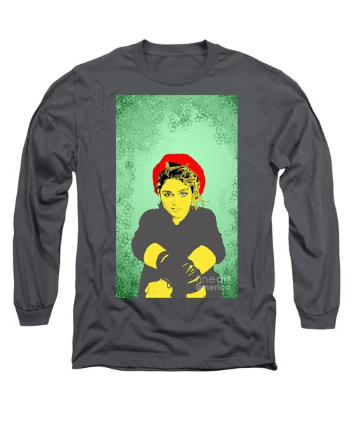 Madonna On Green Long Sleeve T-Shirt