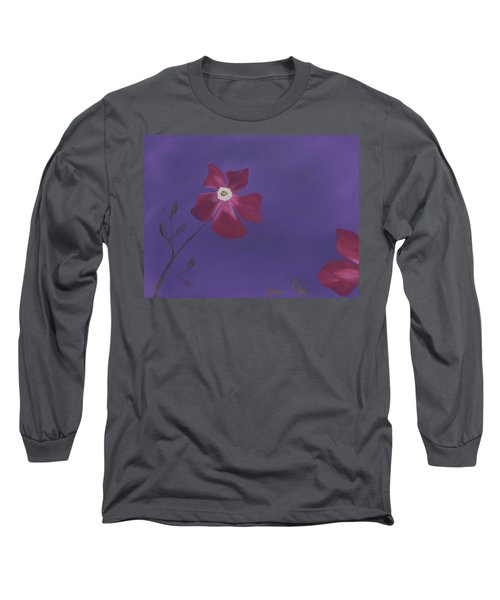 Magenta Flower On Plum Background Long Sleeve T-Shirt