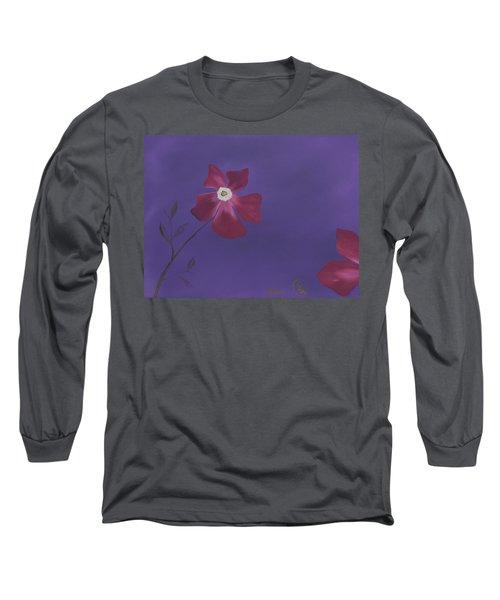 Magenta Flower On Plum Background Long Sleeve T-Shirt