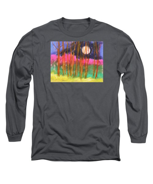 Long Sleeve T-Shirt featuring the painting Magenta Treeline by John Williams