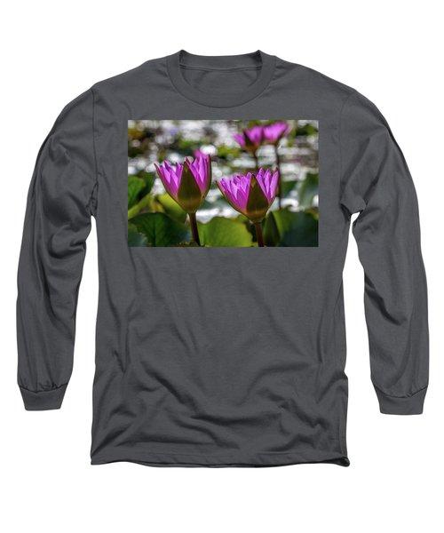 Magenta Water Lilies Long Sleeve T-Shirt
