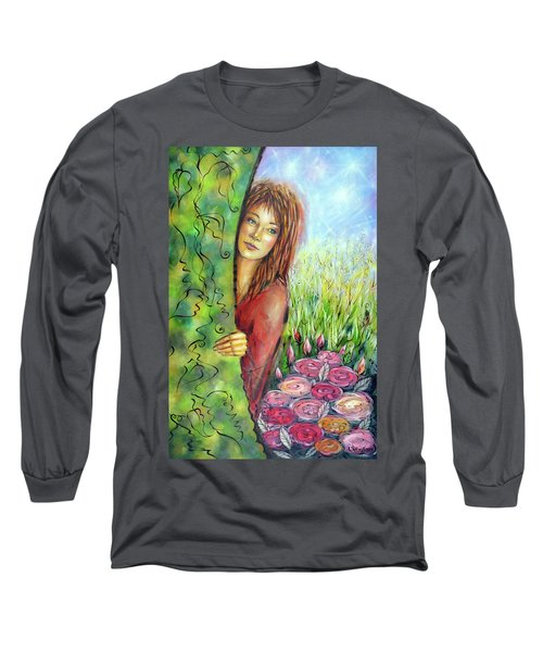Long Sleeve T-Shirt featuring the painting Magic Garden 021108 by Selena Boron