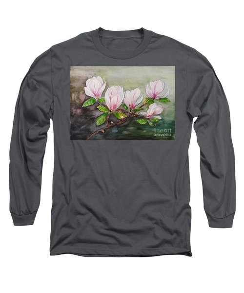 Magnolia Blossom - Painting Long Sleeve T-Shirt by Veronica Rickard