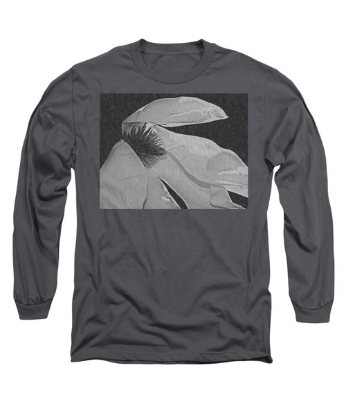 Magnolia In Black And White Long Sleeve T-Shirt