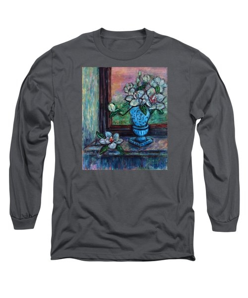 Magnolias In A Blue Vase By The Window Long Sleeve T-Shirt