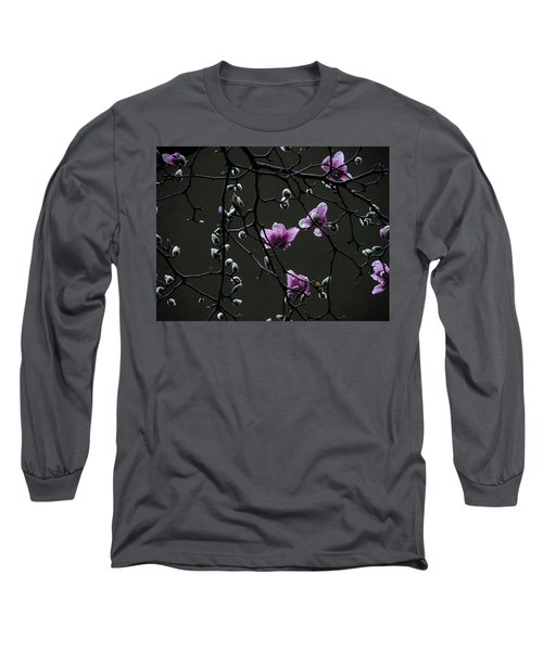 Magnolias In Rain Long Sleeve T-Shirt by Rob Amend