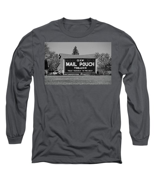 Long Sleeve T-Shirt featuring the photograph Mail Pouch Tobacco In Black And White by Michiale Schneider
