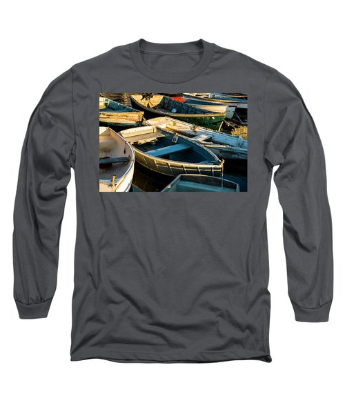 Long Sleeve T-Shirt featuring the photograph Maine Boats At Sunset by Ranjay Mitra