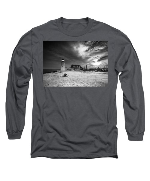 Maine Coastal Storm Over Pemaquid Lighthouse Long Sleeve T-Shirt by Ranjay Mitra