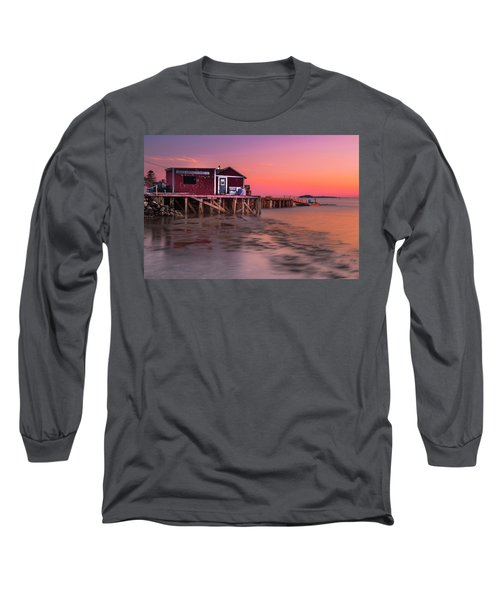 Long Sleeve T-Shirt featuring the photograph Maine Coastal Sunset At Dicks Lobsters - Crabs Shack by Ranjay Mitra