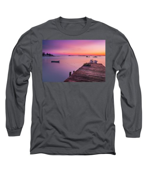 Long Sleeve T-Shirt featuring the photograph Maine Cooks Corner Lobster Shack At Sunset by Ranjay Mitra