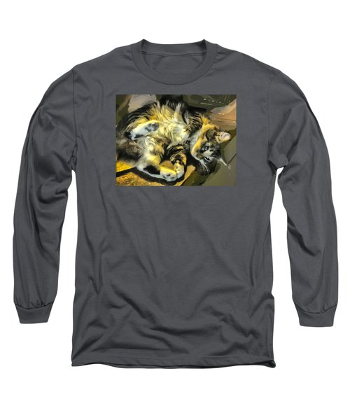 Long Sleeve T-Shirt featuring the photograph Maine Coon Cat At Play by Constantine Gregory