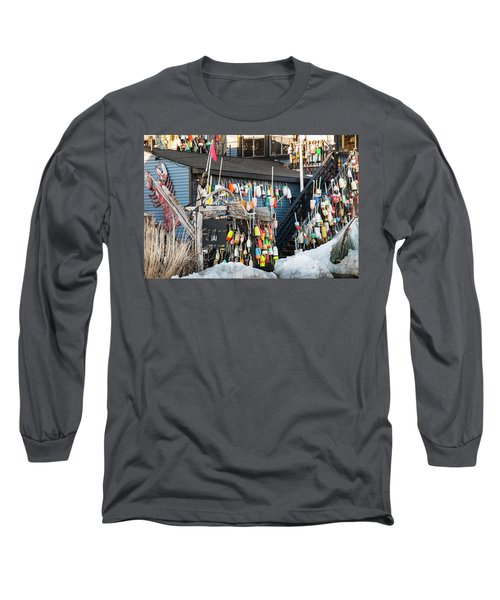 Long Sleeve T-Shirt featuring the photograph Maine Lobster Shack In Winter by Ranjay Mitra