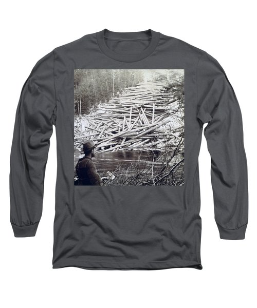 Maine Logging -  C 1903 Long Sleeve T-Shirt by International  Images