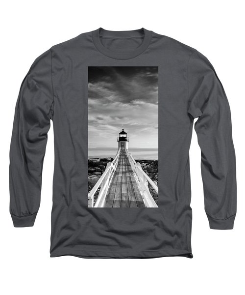 Maine Marshall Point Lighthouse Vertical Panorama In Black And White Long Sleeve T-Shirt