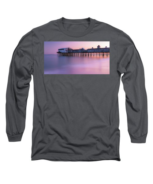 Maine Oob Pier At Sunset Panorama Long Sleeve T-Shirt