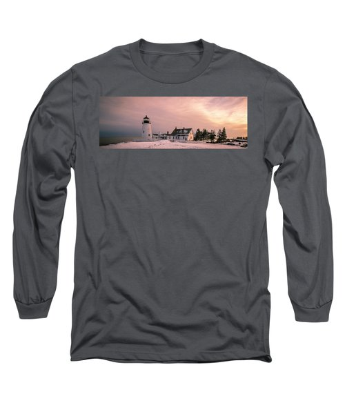 Maine Pemaquid Lighthouse After Winter Snow Storm Long Sleeve T-Shirt by Ranjay Mitra