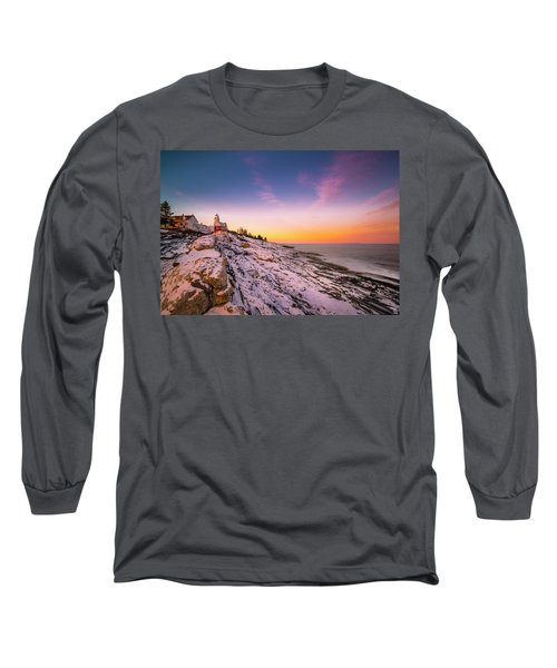 Long Sleeve T-Shirt featuring the photograph Maine Pemaquid Lighthouse In Winter Snow by Ranjay Mitra