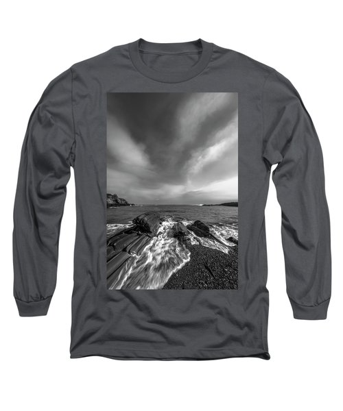 Maine Storm Clouds And Crashing Waves On Rocky Coast Long Sleeve T-Shirt by Ranjay Mitra
