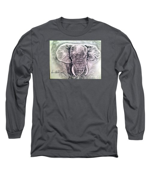 Majestic Elephant Long Sleeve T-Shirt by Brindha Naveen