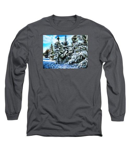 Majestic Winter In New England  Long Sleeve T-Shirt by Judy Palkimas