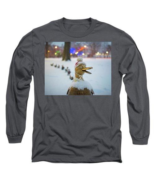 Make Way For Ducklings Winter Hats Boston Public Garden Christmas Long Sleeve T-Shirt