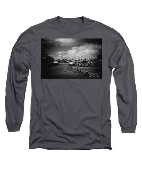 Long Sleeve T-Shirt featuring the photograph Mala Wharf Ala Moana Street Lahaina Maui Hawaii by Sharon Mau