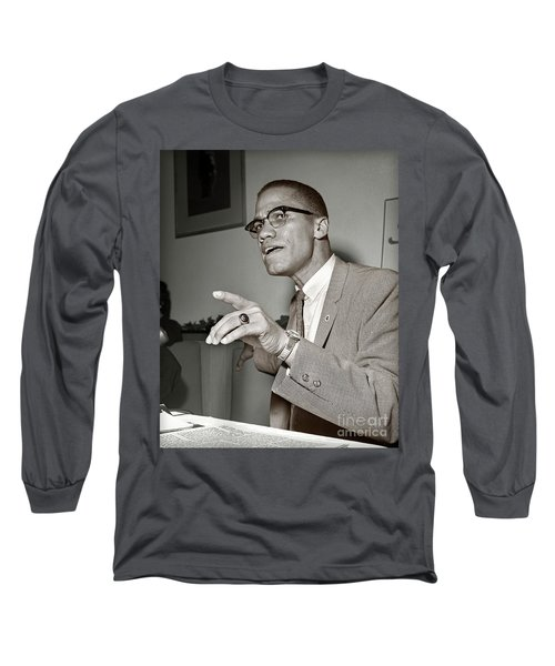 Long Sleeve T-Shirt featuring the photograph Malcolm X  by Martin Konopacki Restoration