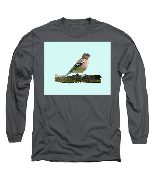 Male Chaffinch, Blue Background Long Sleeve T-Shirt by Paul Gulliver