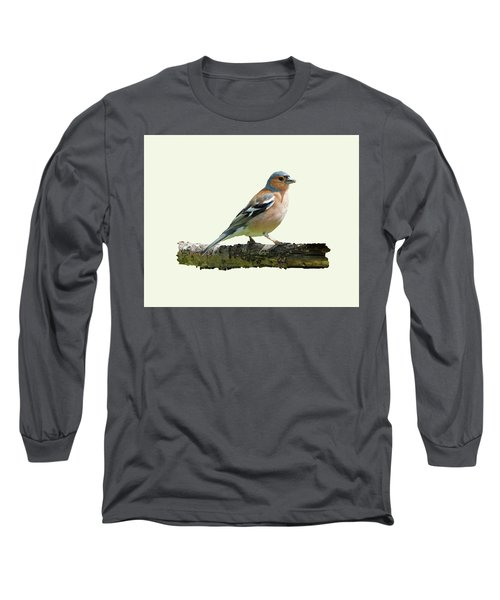 Male Chaffinch, Cream Background Long Sleeve T-Shirt by Paul Gulliver