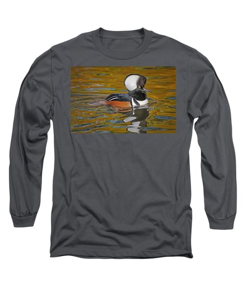 Long Sleeve T-Shirt featuring the photograph Male Hooded Merganser Duck by Susan Candelario