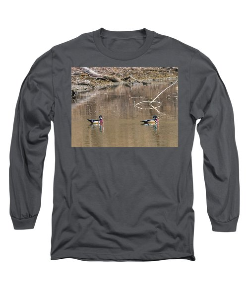 Long Sleeve T-Shirt featuring the photograph Male Wood Ducks by Edward Peterson