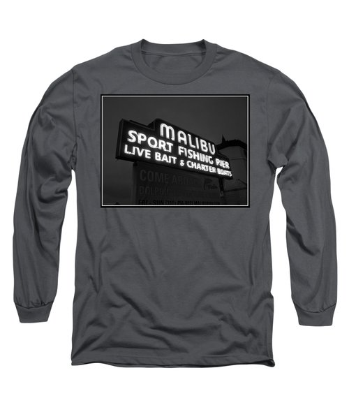 Long Sleeve T-Shirt featuring the photograph Malibu Pier Sign In Bw by Glenn McCarthy Art and Photography
