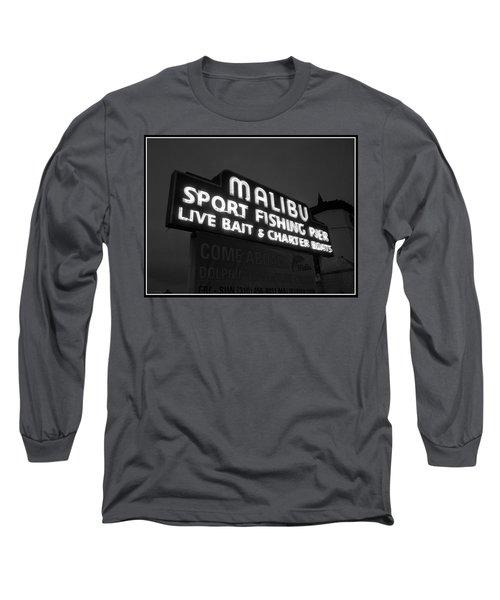 Malibu Pier Sign In Bw Long Sleeve T-Shirt