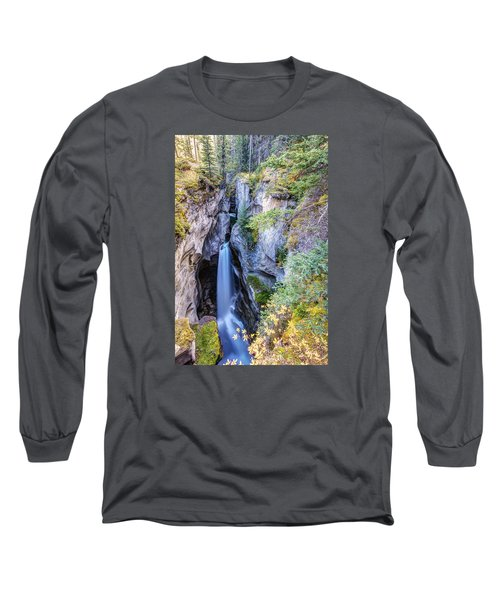 Maligne Canyon Waterfall Long Sleeve T-Shirt