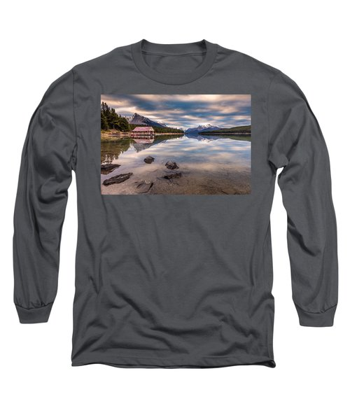 Long Sleeve T-Shirt featuring the photograph Maligne Lake Boat House Sunrise by Pierre Leclerc Photography